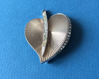 Boucher Heart shape brooch pin with rhinestones c1960