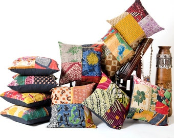 Set of 10 Pillow, Vintage Kantha Pillow Covers, Indian Bohemian Patchwork Kantha Cushion Cover, 16 x 16 Handmade Antique Kantha Throw Pillow