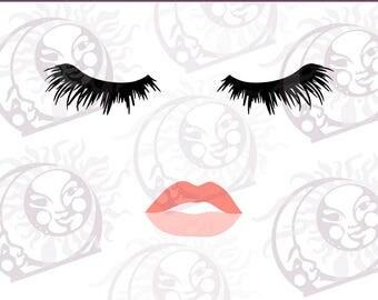 Eyelashes Girl SVG - Lips Lashes SVG - Eyelashes Lips SVG - Fashion Face - Cuttable Design Files