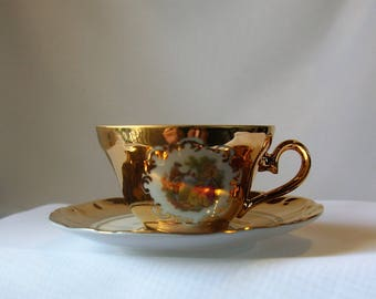 Teacup and Saucer  24 KT Gold Made In Germany