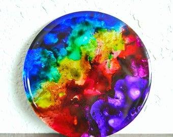Rainbow magnet- handmade refrigerator magnet featuring original alcohol ink fluid artwork on mirror surface