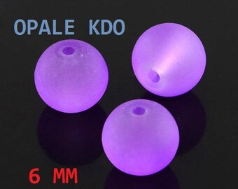 Set of 10 round glass beads frosted 6 mm colors: purple