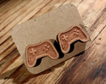 GAMER Controller insignia wooden earrings
