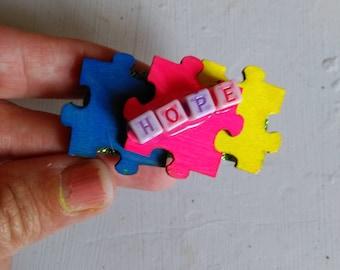 Autism Awareness hope hair barrette