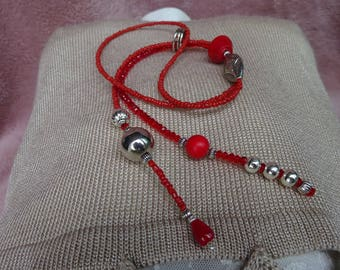 Necklace - Tie red resin
