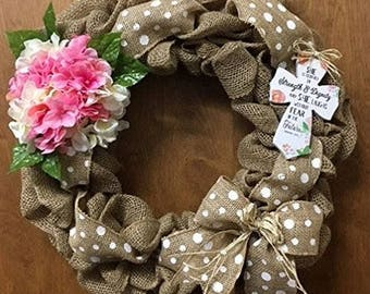 Easter, Spring, Religious Door Burlap Wreath. She Is Clothed in Strength and Dignity and She Laughs Without Fear of the Future. Proverbs
