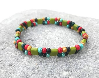2-Layer Square Bead Bracelet