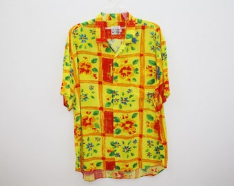 Vintage Jams World Square Floral Motive Yellow Rayon Hawaiian Shirt Made in USA Size L