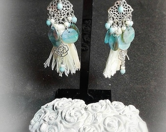 Earring pendant adorned with Pearl tassel, Pom Pom, facet and filigree print