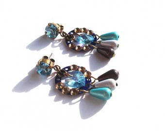 Turquoise Crystal dangling earrings