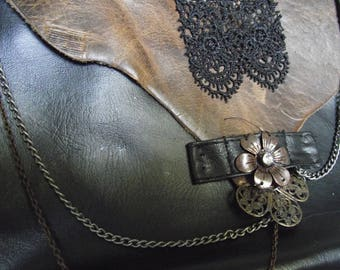 Steampunk customized handmade leg purse