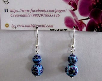 earring 2 blue beads