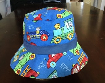 Trains trucks and cars boy's bucket hat