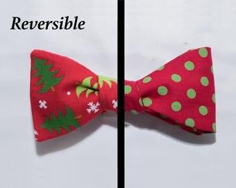 Christmas tree polkadots self-tie bow tie