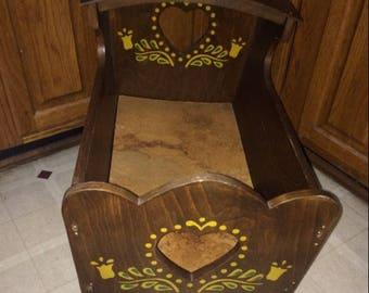 Wooden Antique Vintage Baby Doll Cradle Bed