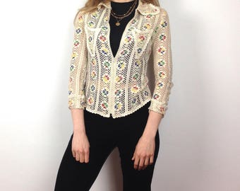Amazing 70s netted zip up shirt - S