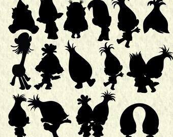 Trolls silhouettes svg, trolls silhouette cut file, trolls clipart, trolls dxf, vector, trolls cut file for cricut , silhouette cameo