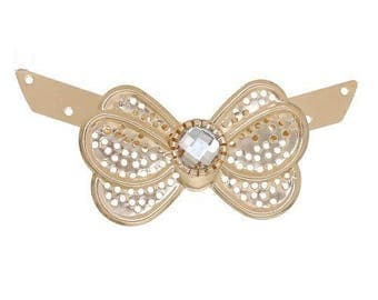 x 1 large light gold bow tie connector