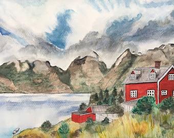 Original watercolour landscape, Norwegian Fjord, Mountains, Red Wooden House