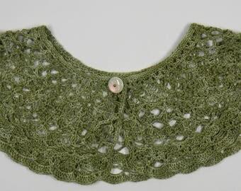 Peter Pan collar crochet cotton Mercerized green olive nuanced