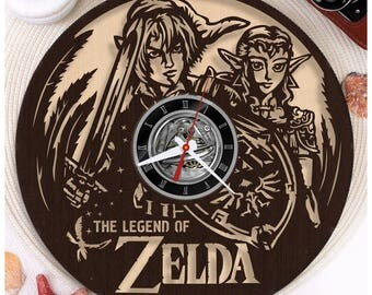 The Legend of Zelda clock/Wood  clock *W138 Wooden clock/Plywood clock/Gift for Gamer/Wall clock/Video Game Clock/Wooden Horloge