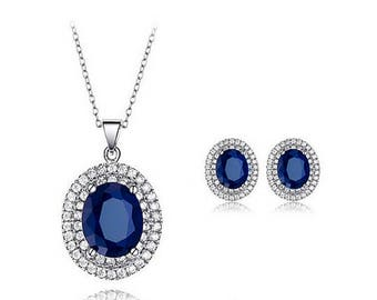 Blue earring and necklace set