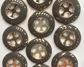 round buttons Golden taupe polyester 4 25 mm hole