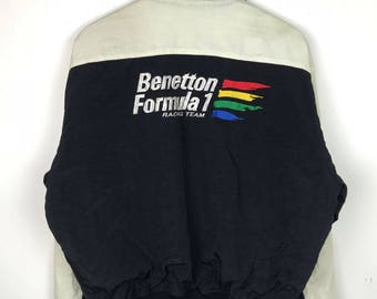 Rare!!! Benetton Formula 1 Racing Team Jacket Spellout Big Logo Embroidery Multicolors Four Pockets