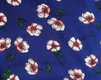 White Flower on Royal Blue - Viscose