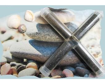 """SAND and QUARTZ - Set 3: 3 """"grey and black"""" color tubes of decorative sand and quartz"""