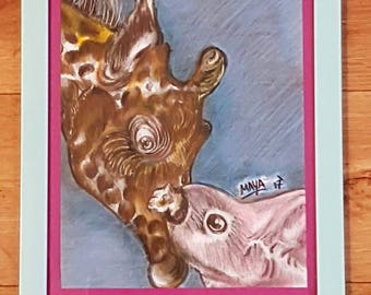 Giraffe and Bunny Animal Portrait