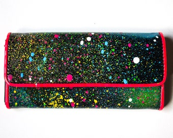 Handpainted Space Wallet - One of a kind - Free Worldwide Shipping
