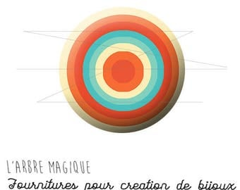Cabochon 25 mm circles fancy Infini Orange Blue ref 1309