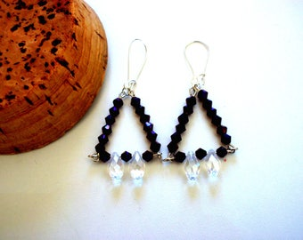 Vintage crystal glass triangle earrings