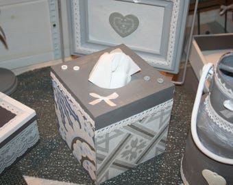 """square tissue box grey blue and white lace deco """"grey cement tile"""""""