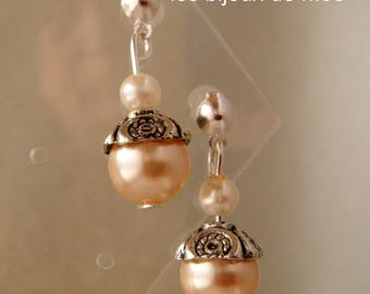champagne pearls and ivory + metal Stud Earrings
