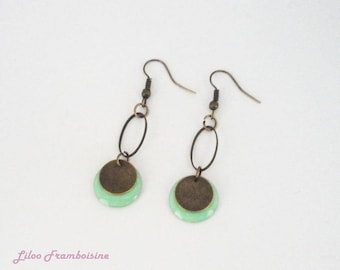 Bronze earrings, green sequin with water