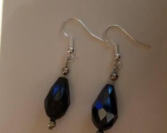 Sparkling Black Gem Dangle Earrings