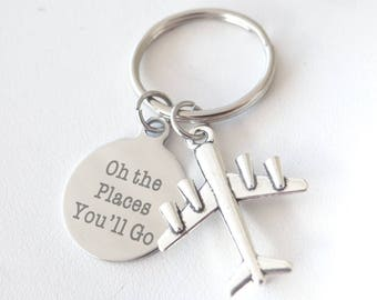 "Oh the Places you'll Go Keychain, Graduation keychain, Oh the places you""ll go, class of 2018, 2018"