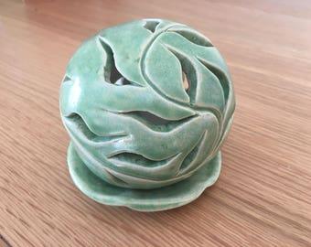 Hand Carved Ceramic Candle / Tea Light Holder