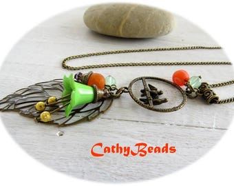 """long necklace """"perched birds"""""""