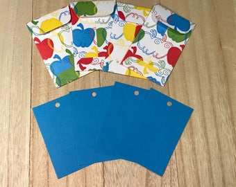 Four teacher themed gift tags with envelopes