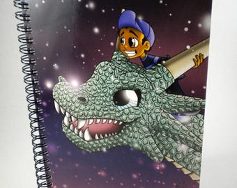 Fantasy/ African American Notebooks/ Dragon/ Semi-Gloss/ Dragon Notebooks/ Fantasy Notebooks/ Notebooks with Dragons/ Spiral Notebooks