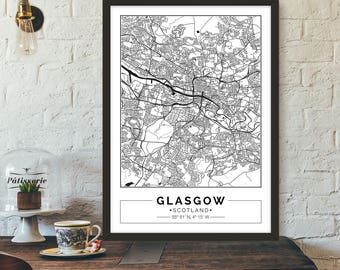Glasgow, Scotland, City map, Poster, Printable, Print, Street map, Wall art