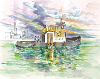 Seascape Iron Cove | Watercolor, Pencil, Ink, Boat, Sea, River, Anchor, Ocean, Australia, Decor, Wall Art, Original, Colorful