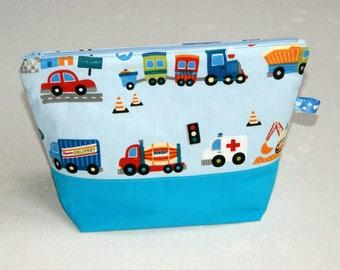 Toilet bag boy pattern vehicles.
