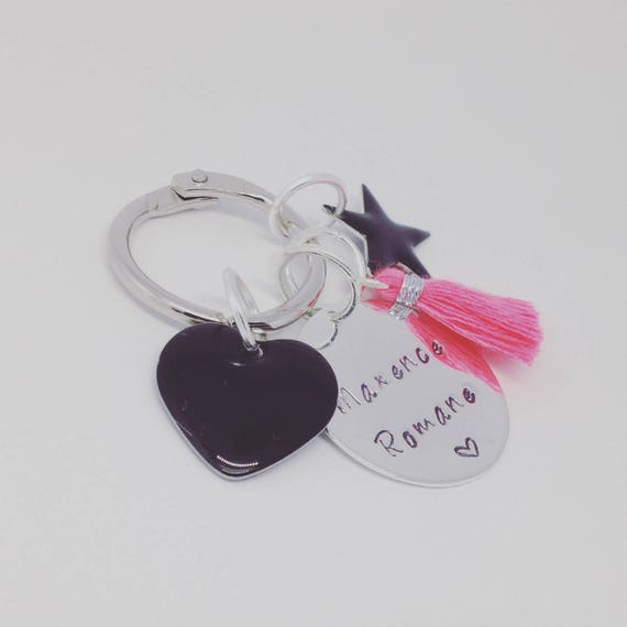 Bag charm, Keychain with custom engraving and charms. By Palilo jewelry gift idea