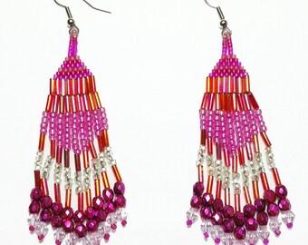 Fuchsia Pink Beaded Dangle Earrings