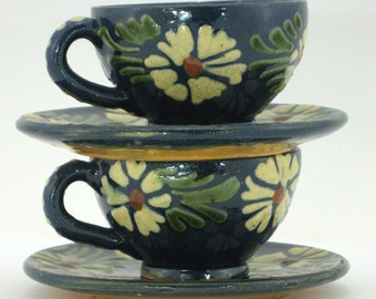 2 cups and saucers vintage pottery - Alsace