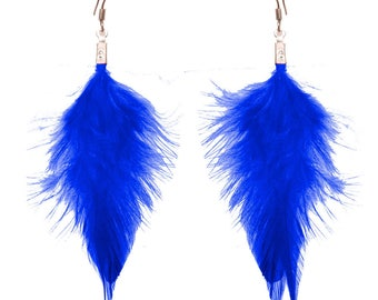 Dangling earrings very light feather plain Royal Blue